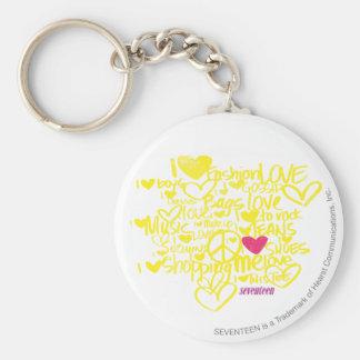 Graffiti Magenta/Yellow Basic Round Button Key Ring