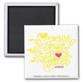 Graffiti Magenta/Yellow Square Magnet