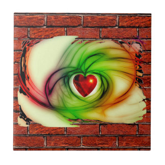 GRAFFITI ON THE WALL: THE ARTIST'S HEART ~ SMALL SQUARE TILE