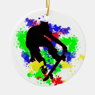 Graffiti Paint Splotches Skater Christmas Ornament