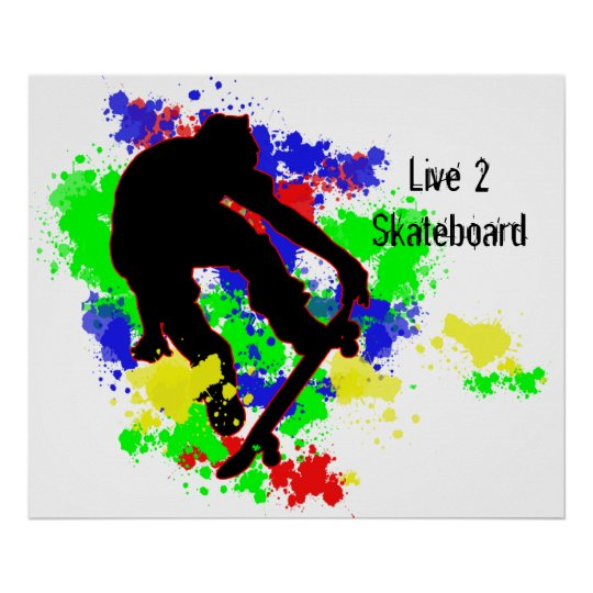 Graffiti Paint Splotches Skater Poster