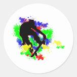 Graffiti Paint Splotches Skater Round Stickers