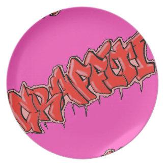 GRAFFITI pink plate