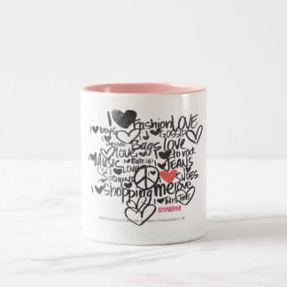 Graffiti Pink Two-Tone Coffee Mug