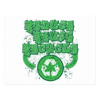 Graffiti Reduce Reuse Recycle Postcard