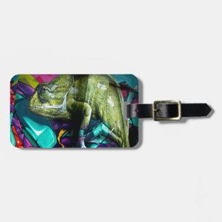Graffiti reptile luggage tag