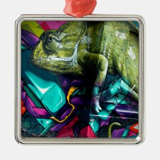 Graffiti reptile Silver-Colored square decoration