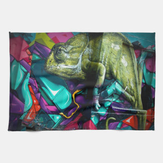 Graffiti reptile tea towel