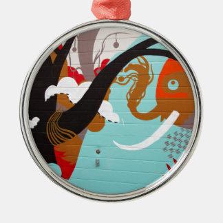 Graffiti Silver-Colored Round Decoration