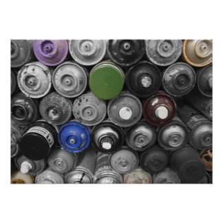 Graffiti Spray Cans Poster