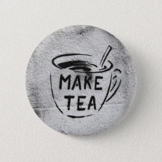 "graffiti stencil art ""make tea"" slogan button"