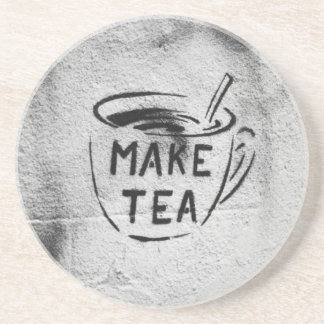 "graffiti stencil art ""make tea"" slogan coaster"