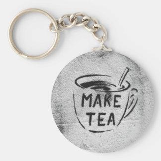 """graffiti stencil art """"make tea"""" slogan keychain"""