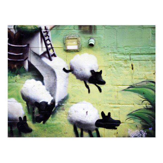 Graffiti / Street Art Sheep Jumping Postcard