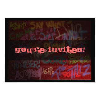 "Graffiti Style 5"" X 7"" Invitation Card"