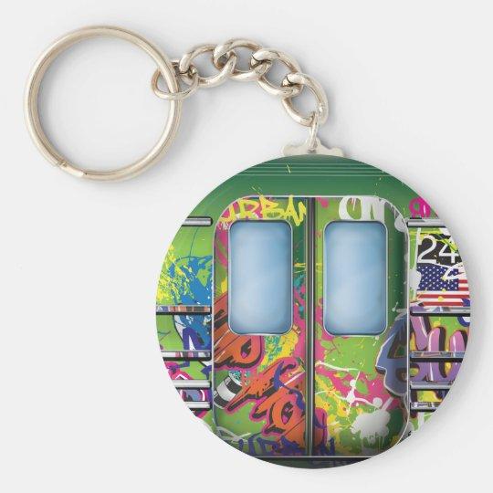 Graffiti Subway Train Green Key Ring