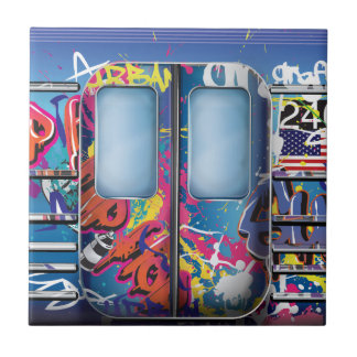 Graffiti Subway Train. Tile