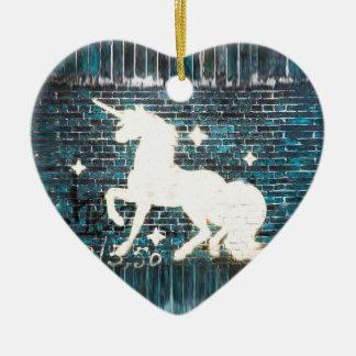 Graffiti Unicorn on Blue Brick Wall Ceramic Heart Decoration