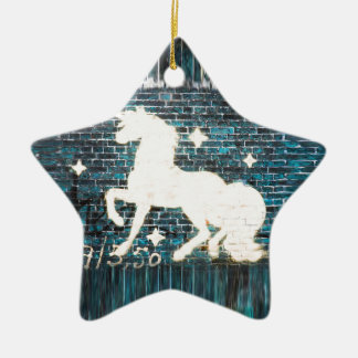 Graffiti Unicorn on Blue Brick Wall Ceramic Star Decoration