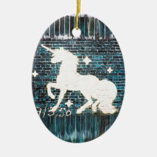 Graffiti Unicorn on Blue Brick Wall Christmas Ornament