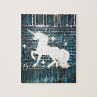 Graffiti Unicorn on Blue Brick Wall Jigsaw Puzzle