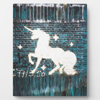 Graffiti Unicorn on Blue Brick Wall Plaque