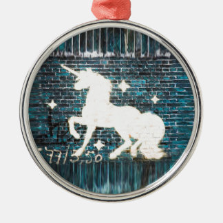 Graffiti Unicorn on Blue Brick Wall Silver-Colored Round Decoration