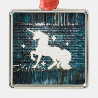 Graffiti Unicorn on Blue Brick Wall Silver-Colored Square Decoration