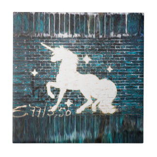 Graffiti Unicorn on Blue Brick Wall Small Square Tile