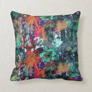 Graffiti Wall and Spray Paint Splatter Cushion