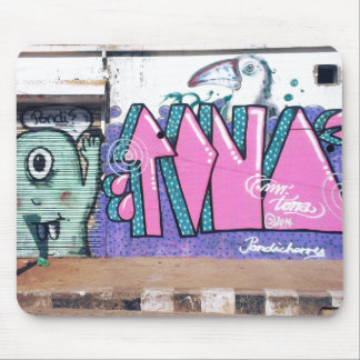Graffiti Wall Art in Streets of Pondicherry India Mouse Pad