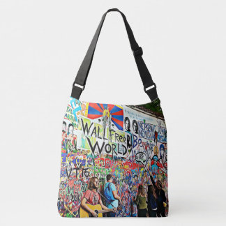 Graffiti Wall street musicians playing guitar Crossbody Bag