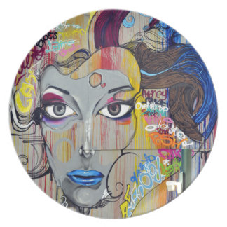 Graffiti Woman Plate