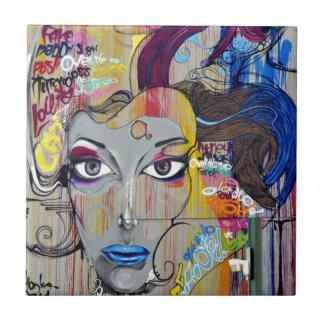 Graffiti Woman Tile