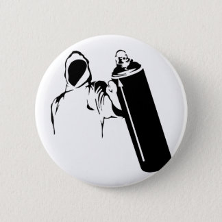 Graffiti writer with spray can stencil 6 cm round badge