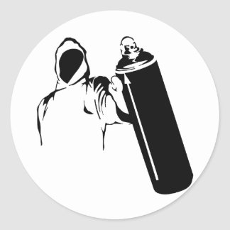 Graffiti writer with spray can stencil round sticker