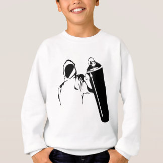 Graffiti writer with spray can stencil sweatshirt