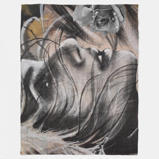 Grafitti woman fleece blanket