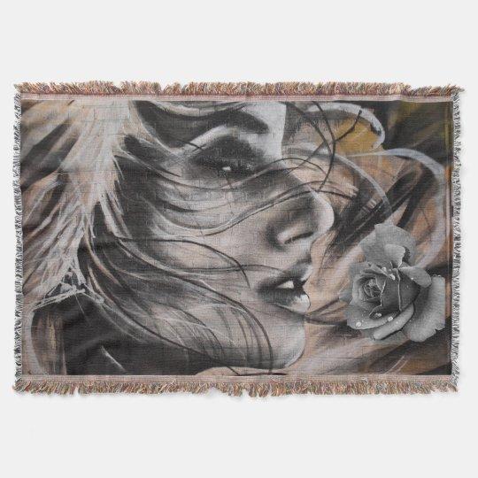grafitti woman throw blanket