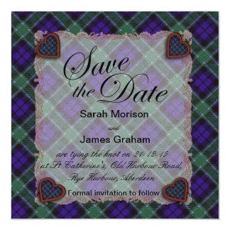 Graham Scottish clan tartan - Plaid 13 Cm X 13 Cm Square Invitation Card