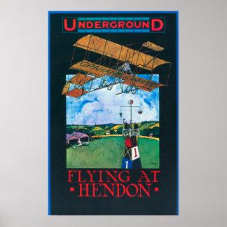 Grahame-White And Plane over Aerodrome Poster