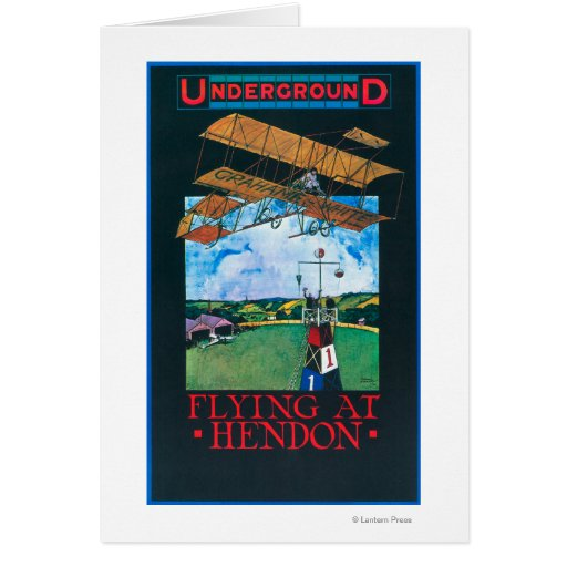 Grahame-White And Plane over Aerodrome Poster Greeting Card
