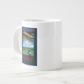 Grahame-White And Plane over Aerodrome Poster Jumbo Mug