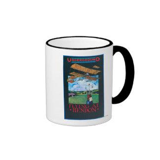 Grahame-White And Plane over Aerodrome Poster Ringer Mug