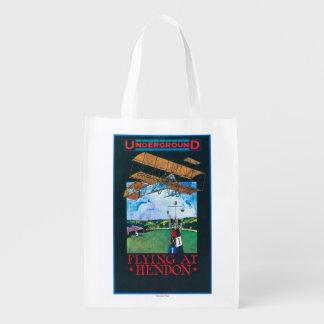 Grahame-White And Plane over Aerodrome Poster Grocery Bag