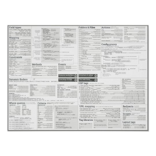Grails cheat sheet - greyscale theme poster