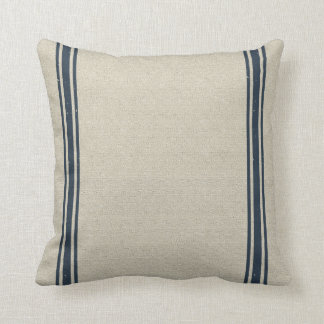 Grainsack with Double Navy Stripes Throw Pillow