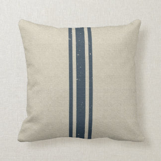 Grainsack with Three Navy Stripes Throw Pillow