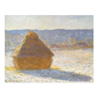 Grainstack in Morning, Snow Effect by Claude Monet Postcard