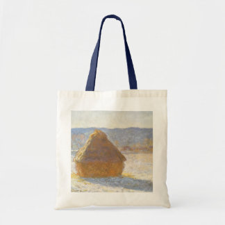 Grainstack in Morning, Snow Effect by Claude Monet Tote Bag